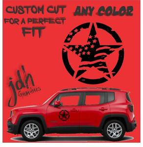 JEEP RENEGADE 2015 2016 2017 Oscar Mike Distressed stars vinyl decals 2 pieces