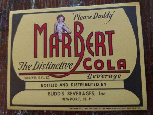 1937 MARBERT COLA BOTTLE LABEL BUDD/'S BEVERAGES NEWPORT NEW HAMPSHIRE BALTIMORE
