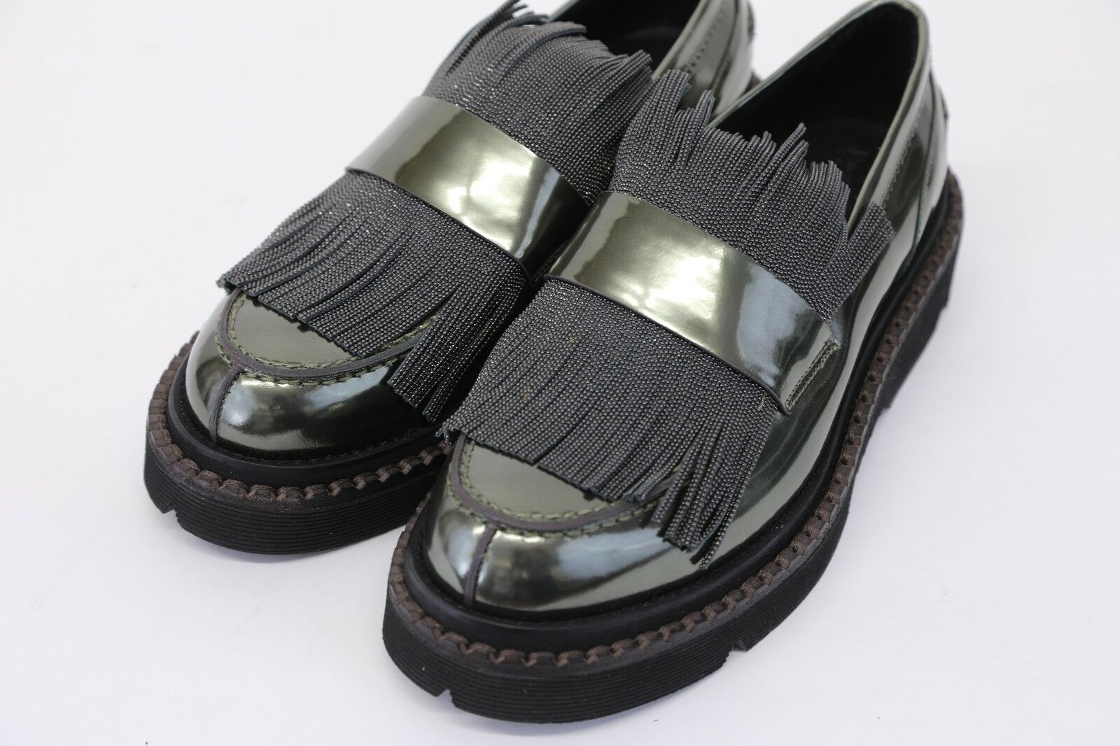 NWOB$2095 Brunello Cucinelli Metallic Leather Beaded Loafers Fringe Loafers Beaded 40/10US A181 82b9ba