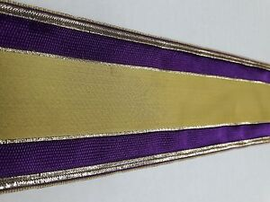 Vintage-Religioso-Design-Color-Oro-amp-Viola-Bendaggio-Casula-Seta-7-6cm