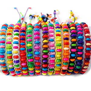 10pcs Assorted Rainbow Colorful Wood Beads Handmade Braided