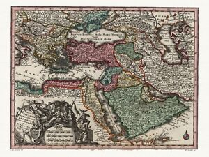 Alte-Osmanisches-Reich-Dekorative-Landkarte-Seutter-ca-1744
