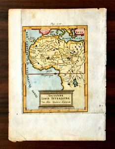 1685 Mallet Map, North & West Africa, Copper Plate Engraving, Hand Color, RARE