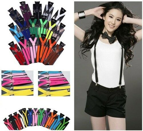 8 Colors Checker Style Men Women Clip-on Adjustable Suspenders Elastic Y-Shape