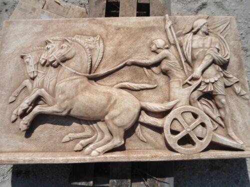 BASSORILIEVO QUADRO ROMANO BIGA ROMANA IN CEMENTO E MARMO 113 cm