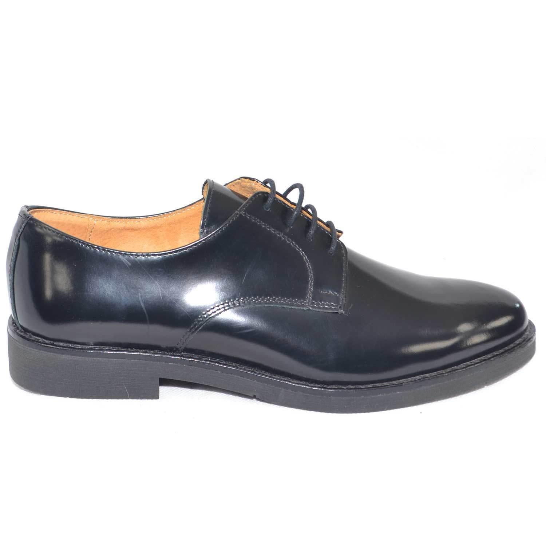 Zapatos hombre stringate stringate hombre vera in pelle abrasivato nero made in vera da7619