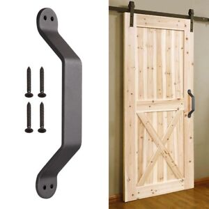 """9"""" Barn Handle Cast Iron Pull Gate Shed Cabinet Matte Coffee for Sliding Door"""