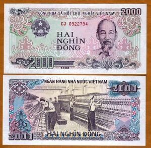 Image Is Loading Vietnam 2000 Dong 1988 P 107a Unc Gt
