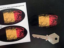 BELGIUM Flag Fade to Black Oval Car Motorcycle Stickers 75mm Belgian Bike Van