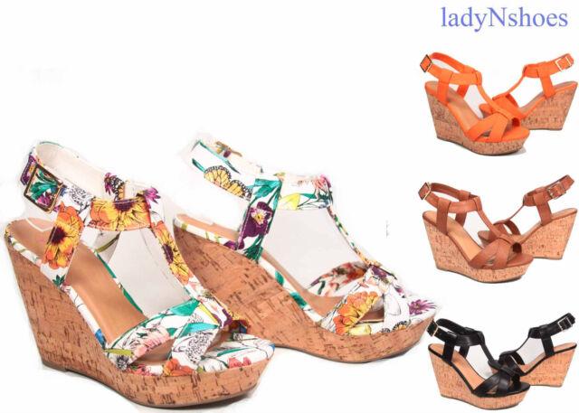 NEW Women's Strappy Open Toe Buckle T-Strap Wedge Platform Sandal Size 5.5 - 11