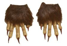 Werewolf Wolf Claw Hands Hairy Monster Animal Gloves Brown Costume Accessory New