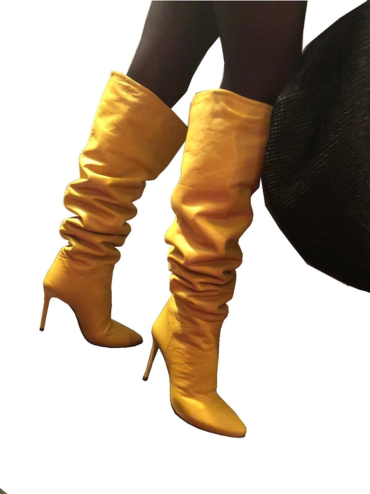 CQ COUTURE STIEFEL ITALY CUSTOM OVERKNEE Stiefel STIEFEL COUTURE STIEFEL LEATHER YELLOW GELB 43 384d06