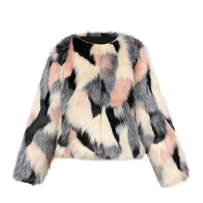 Details about Faux Fur Fluffy Furry Winter Girls Kids Childs Jacket Coat 2 8Y Pink Black White