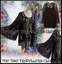 RIVER ISLAND CHELSEA GIRL BLACK LACE VINTAGE 60s KIMONO SLEEVE DRESS 6 8 10 +