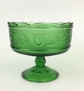 vintage 1960s Brody Co Green Glass Pedestal Bowl M2000 E.O Christmas decor