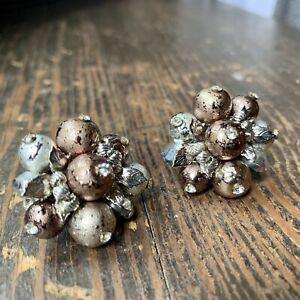 Vintage-VENDOME-Silver-Gold-Rhinestone-Metallic-Earrings-Clip