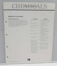 Kodak Chemicals HC-110 Developer Pamphlet Booklet 1984 G-13 - USED B130