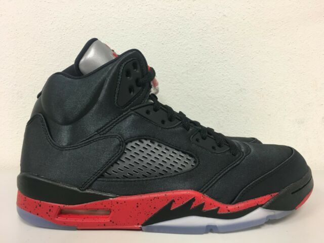 finest selection 05f8b 99cb7 Nike Air Jordan 5 Retro Satin Bred Black Red 136027 006 Mens Size 9