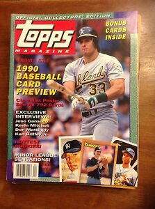 Details About Premier Issue Winter 1990 Jose Canseco Topps Magazine Oakland As Baseball Cards