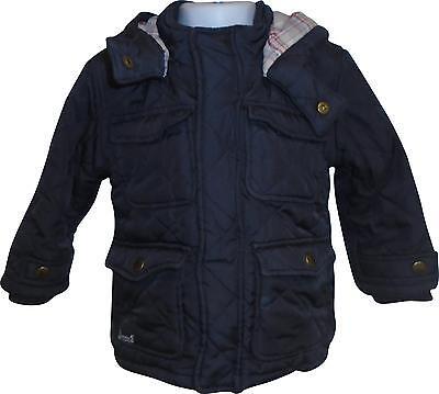 USED Baby Boys Debenhams Navy Padded Coat (Broken Zip) Size 18-24 Months (T.H)