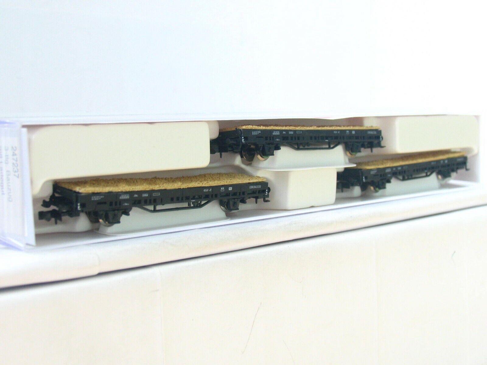Hobbytrain N 247237 3er Set Flachwagen m. Ladegut DB OVP (RB8015)