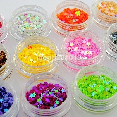 12 Colors 3D Acrylic Nail Art Glitter Sequins Set Decoration Tools Stars Shape