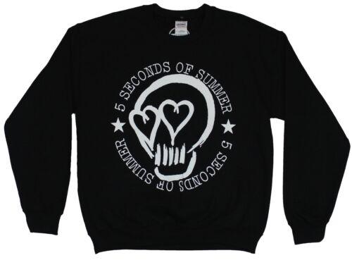 5 Seconds of Summer Mens Crewneck Sweatshirt Skull Heart Eyes Logo