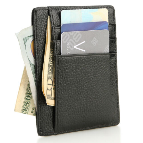 New Genuine Leather Slim Card Holder Wallets For Men Minimalist RFID Blocking