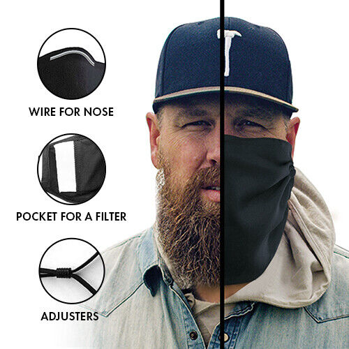 Beard Face Mask Cover for Bearded men With Pocket for a Filter Cotton 100%