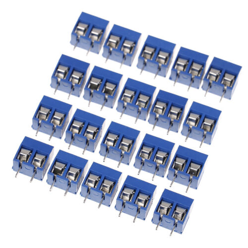 10Pcs blue 2-pin pitch screw terminal block connector 5.08mm panel pcb moun/_AXI