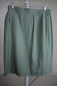 Talbots-Viscose-Rayon-amp-Linen-Blend-Green-Lined-Knee-Length-Pencil-Skirt-14P
