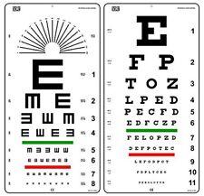 Snellen and Kindergarten Wall Eye Chart Size 22 X 11 Inch Combo