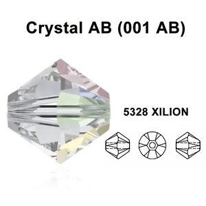 CRYSTAL-AB-001-AB-Genuine-Swarovski-5328-XILION-Bicone-Beads-All-Sizes