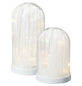 LED-Glasglocke-Weihnachten-Kuppel-weiss-bemalt-LED-Drahtlichterkette-Batterie