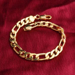 Men-Women-Bracelet-18K-Yellow-Gold-Filled-8-034-Chain-8mm-GF-Jewelry