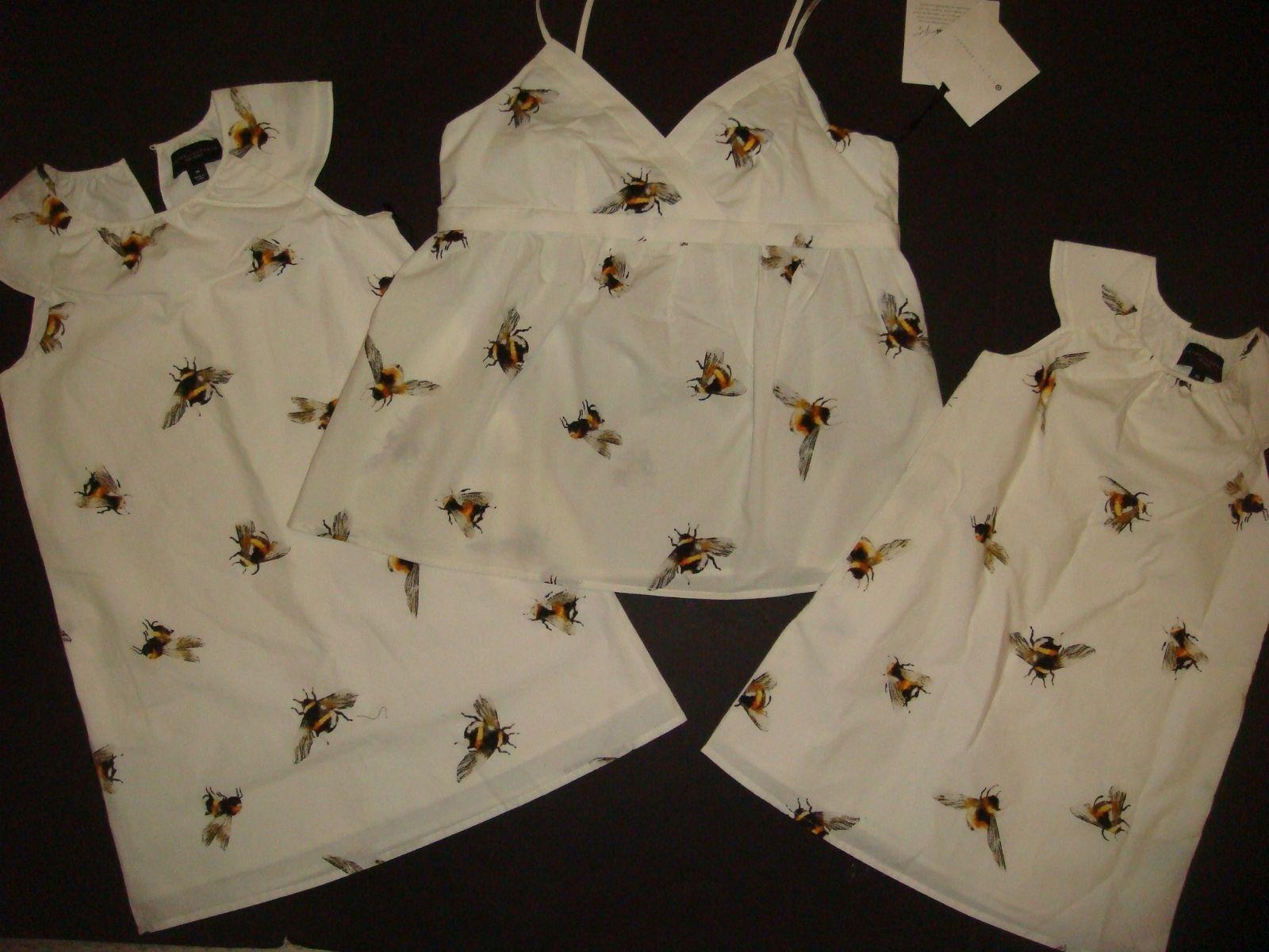 SET Victoria Beckham MOTHER DAUGHTER BEE top S+sister GIRLS dress XS,M Weiß