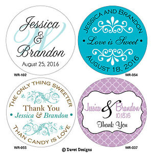 150 - 1.5 inch Custom Personalized Glossy Wedding Stickers Favor Labels Seals