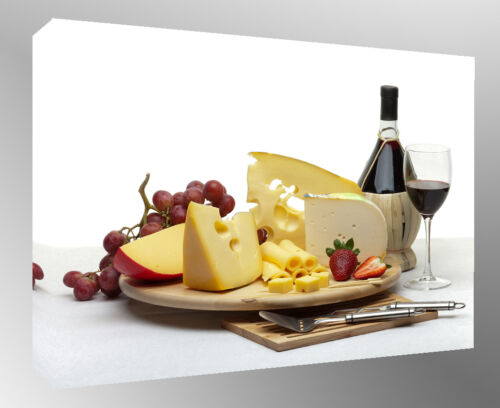 Cheese A2 A0 sizes Wine /& Grapes Cotton Canvas Kitchen Wall Art Picture -A1