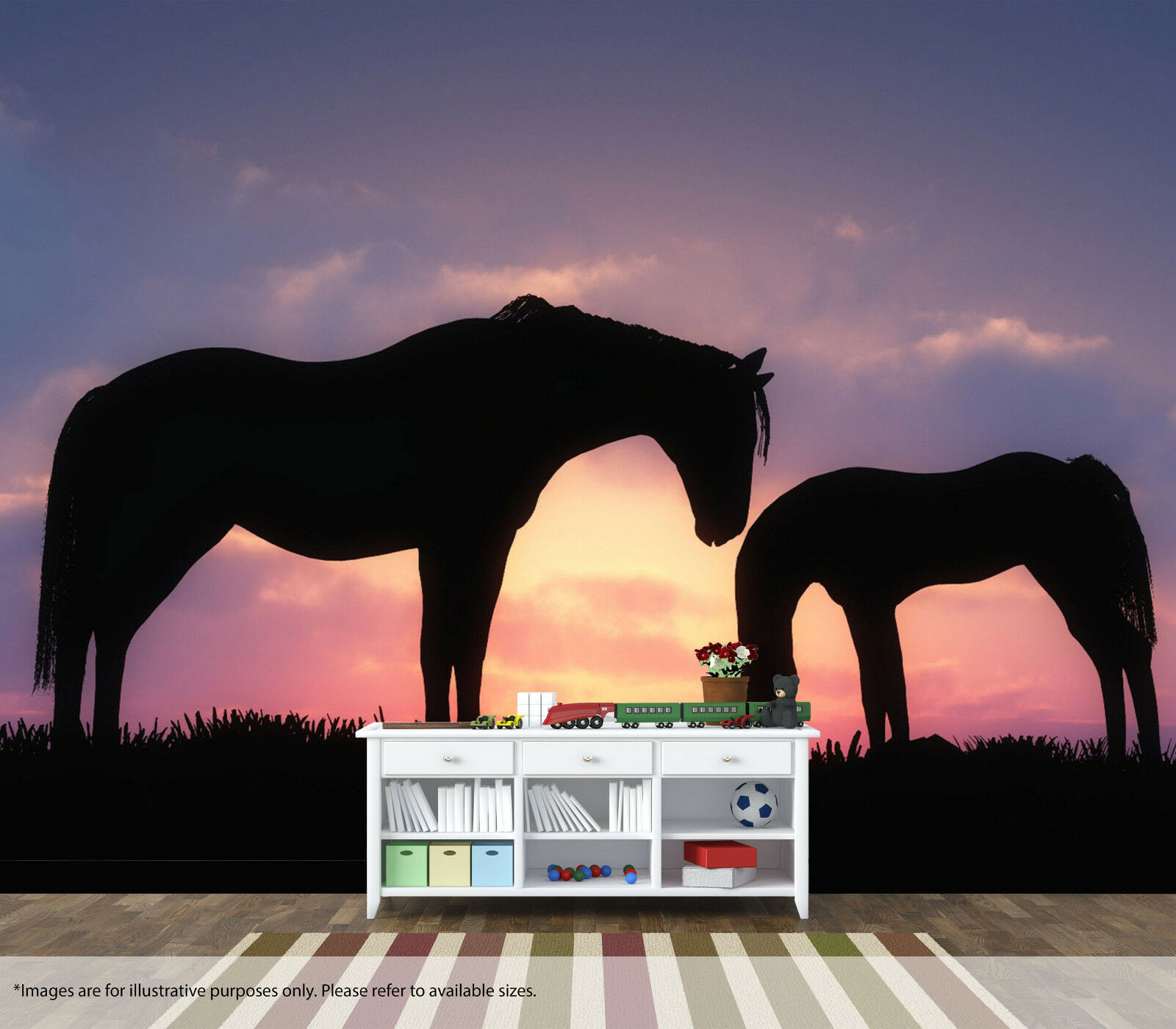 Horses Sunset Wall Mural Wall Art Quality Pastable Wallpaper Decal