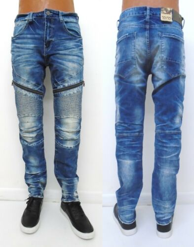 Bleu Hommes Jordan Destroyed Aaron Fit Moto Slim Zipper Jm3085 Craig Jeans EqEawOxFt