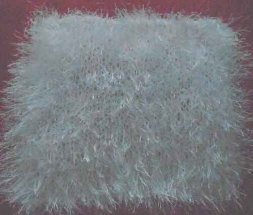 "Mini Small Hand knitted fun fur White Doll Blanket-rug 8in x 9"""