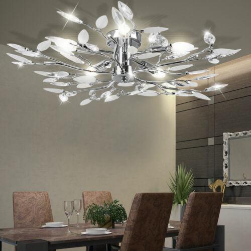 Äste Decken Leuchte Gäste Schlaf Zimmer Kristall Lampe Chrom Strahler Blätter