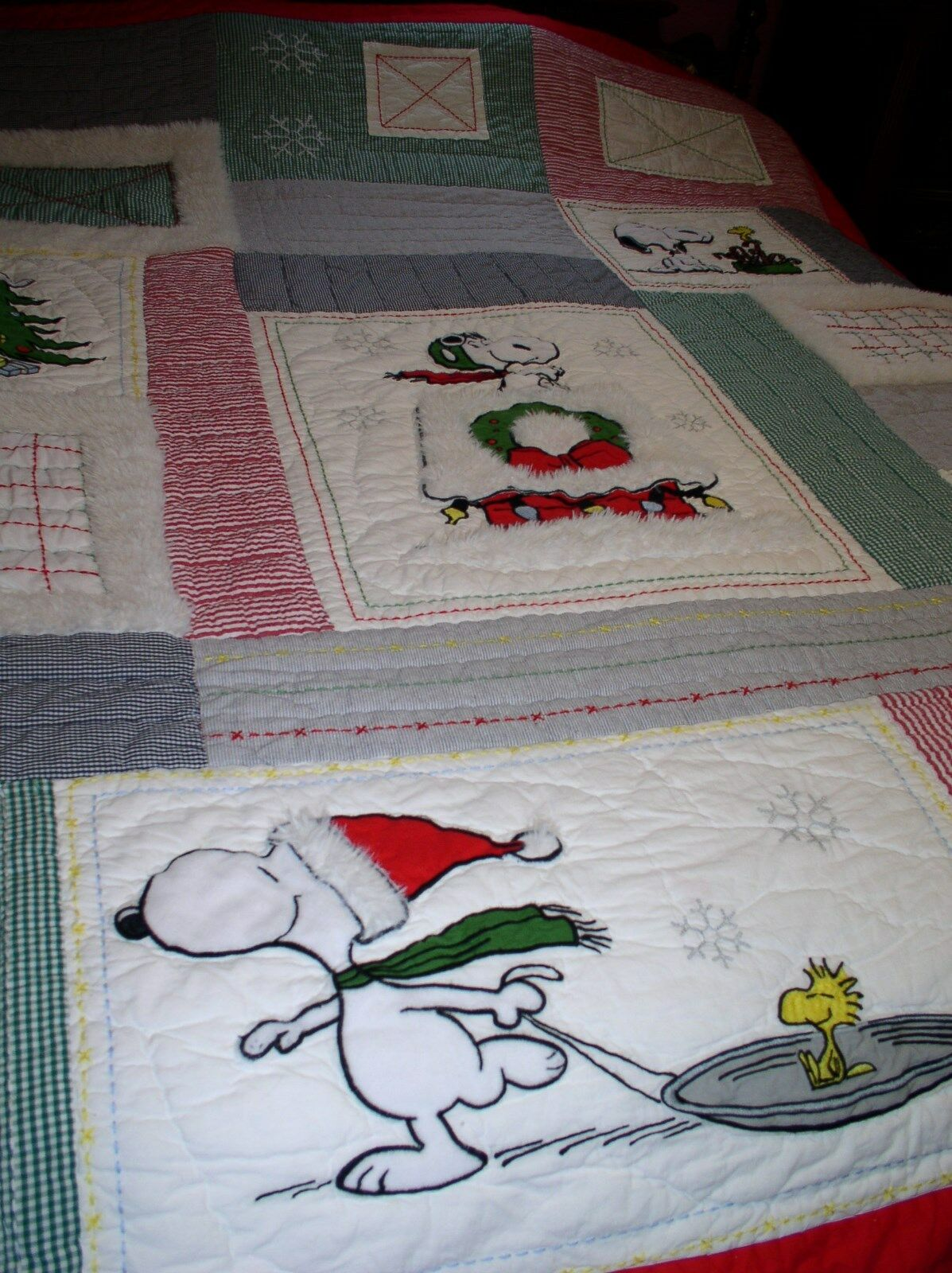 POTTERY BARN Kids SNOOPY PEANUTS Twin Holiday 66 X86  Couette + Assorti Feuille Set
