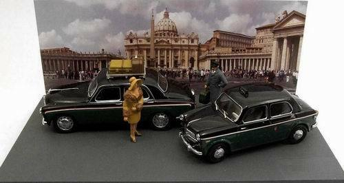Alfa romeo 1900e fiat 110 tv taxi s. pietro rome square + 3 figures 1 43 model