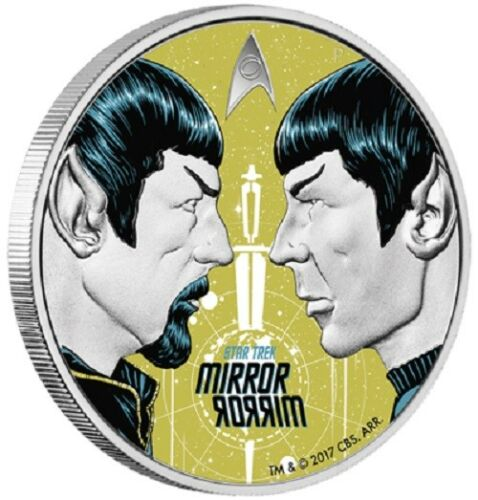Mirror 2017 $1 Tuvalu Star Trek The Original Series Mirror 1oz Silver Proof