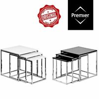 Nest Of 3 Tables Black & White Side Coffee Tables High Gloss Chrome Finish Frame