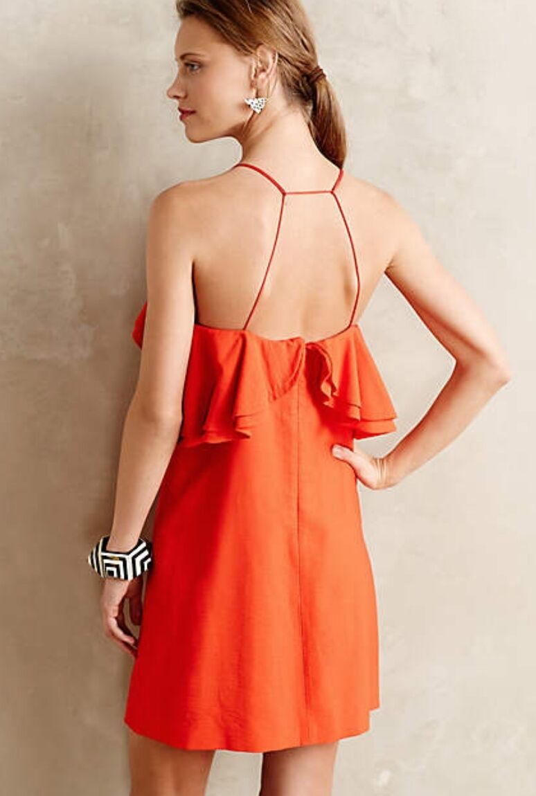 NEW Anthropologie Orange rot Ruffled Sleeveless Sheath Dress L