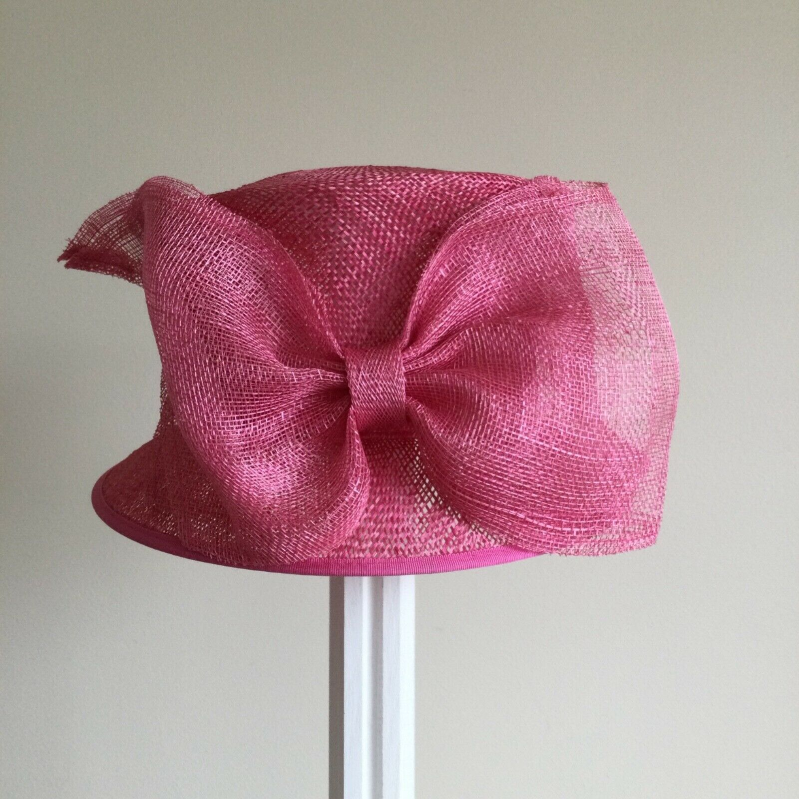 Ladies Whiteley Pink 100% Straw Brim Hat with Large Bow Trim .