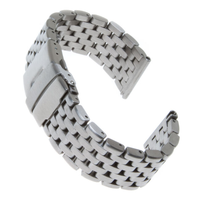 Solid Stainless Steel Straight Ends Watch Strap with Lumpy Links Super Engineer