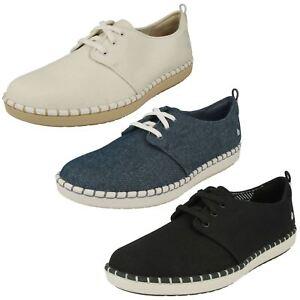 Mujer Cloudsteppers clarks Cordones Canvas Zapatos de Verano
